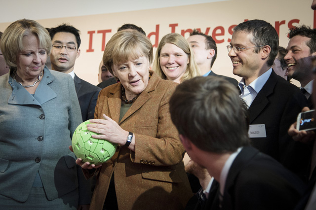 German Chancellor Dr. Merkel Checks out the Throwable Panoramic Ball Camera